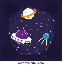 saturn and space icons with stars around, half line half color style