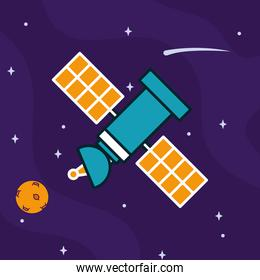 space satellite and planet, colorful design