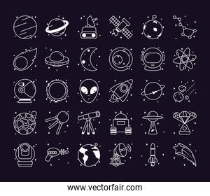 space icon set, line style