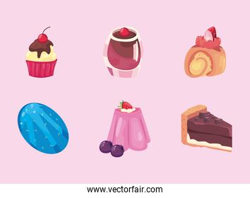 sweet food icon group vector design