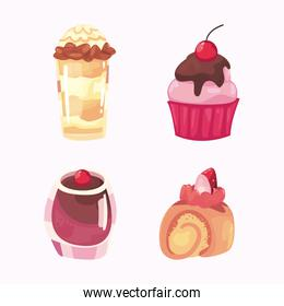 sweet food set of icons vector design