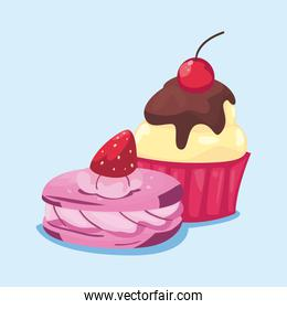 Sweet cupcake and cookie vector design