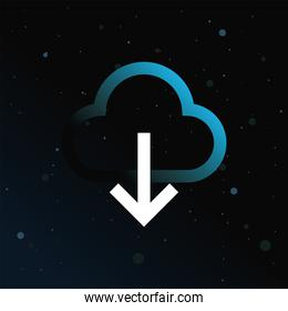 Cloud computing with arrow on blue background vector design