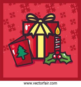merry christmas gift card and candle vector design