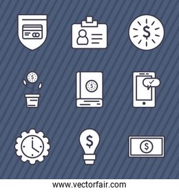 business line style icon set vector design