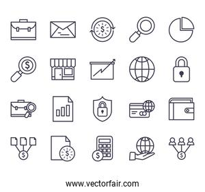 business line style icon collection vector design