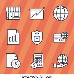 business line style icons group vector design