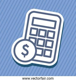 calculator with coin line style icon vector design