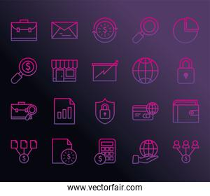 business gradient style icon collection vector design