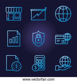 business gradient style icons group vector design