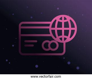 credit card and global sphere purple gradient style icon vector design