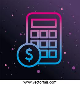 calculator with coin gradient style icon vector design