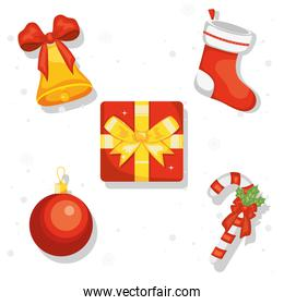 merry christmas gift and icons vector design