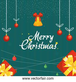 merry christmas bell and spheres hanging vector design