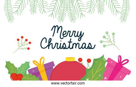 merry christmas gifts with sphere and leaves vector design