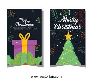 merry christmas gift leaves and pine tree vector design