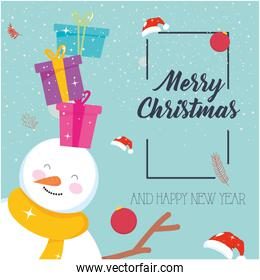 merry christmas gifts on snowman vector design