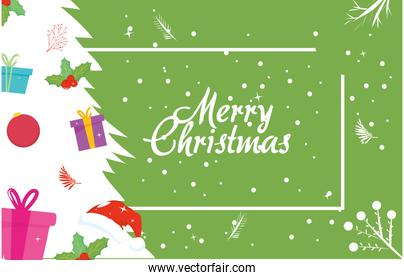 merry christmas white pine tree with gifts vector design