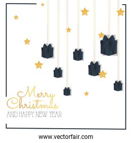 merry christmas gold gifts hanging and stars vector design