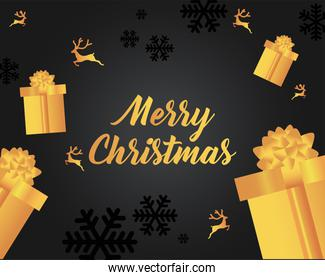 merry christmas gold gifts and reindeers vector design