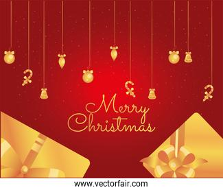 merry christmas gold gifts and icons hanging vector design