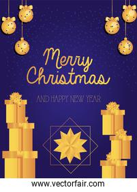 merry christmas gold gifts spheres and star vector design