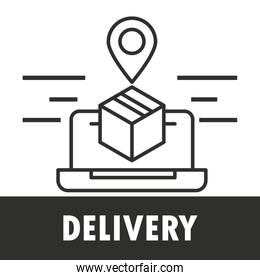online delivery service with laptop and gps pin location with box line style