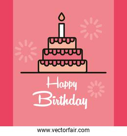 happy birthday handwritten text and cake with candle card