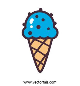 ice cream cone with chocolate chips line and fill style icon vector design