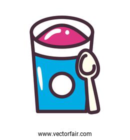 ice cream bucket with spoon line and fill style icon vector design