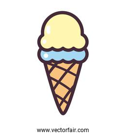 ice cream cone with 2 balls line and fill style icon vector design