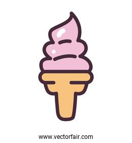 ice cream soft serve line and fill style icon vector design