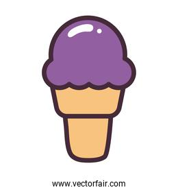 ice cream cone line and fill style icon vector design