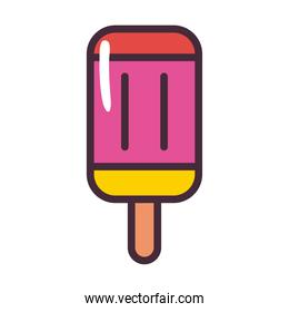 ice cream of 3 flavors with stick line and fill style icon vector design