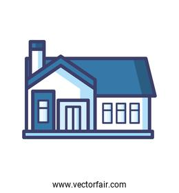 house with door and blue roof line and fill style icon vector design