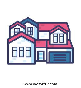 big house with door and windows line and fill style icon vector design