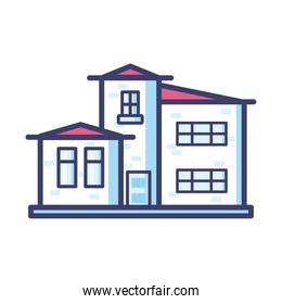 house with windows and red roof line and fill style icon vector design