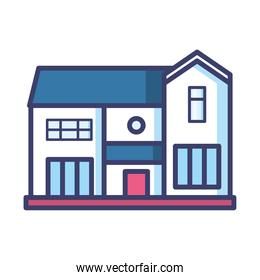 house with door and windows line and fill style icon vector design