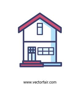 house with door line and fill style icon vector design