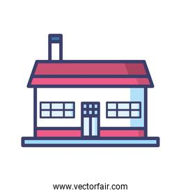 house with door and red roof line and fill style icon vector design