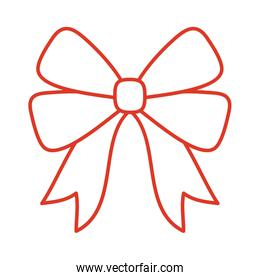 Gift bow line style vector design