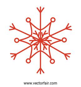 snowflake of winter season in line style vector design