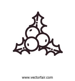 merry christmas berries silhoutte line style icon vector design