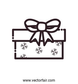 merry christmas gift with bow and snowflakes line style icon vector design