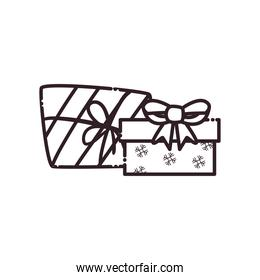 merry christmas gifts with bow snowflakes and lines line style icon vector design