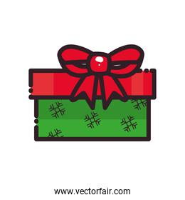 merry christmas gift with bow and snowflakes flat style icon vector design