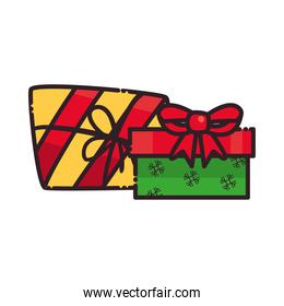 merry christmas gifts with bow snowflakes and lines flat style icon vector design