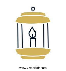 candle in lantern isolated icon