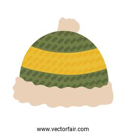 winter hat green and yellow isolated icon