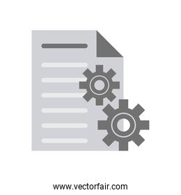 document paper and gears icons
